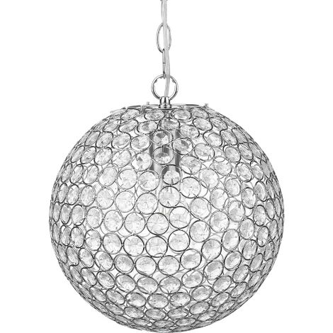 Glamorous Modern Living Room Pendant Ceiling Lamp Acrylic Crystals Silver Toffol