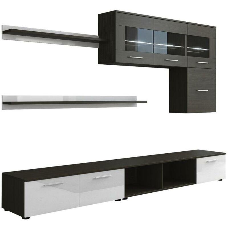 Innovation - Glanzlack Wohnwand, Wohnzimmer, Wohnzimmerschrank, Anbauwand, Esszimmer mit LEDs, Verarbeitung weiß lackiert und Wenge, Maße: 250 x 190