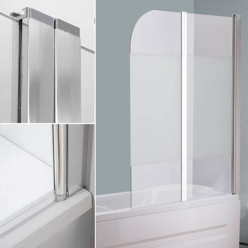 Glas Badewannen Milchglas Duschabtrennung Badewannenfaltwand Satiniert Aufsatz 10003299