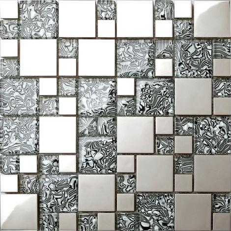 Glas Mit Folien Effekt Und Edelstahl Mosaik Fliesen Matte In Schwarz