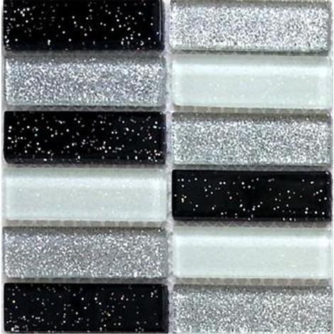 Glas Mosaik Fliesen In Schwarze Weisse Grunsilberne Mit Glitzer MT0028