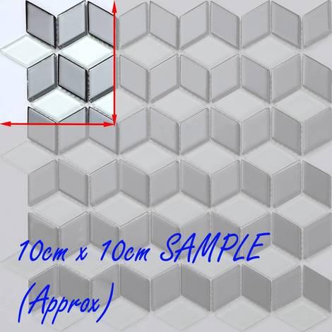 Fliesen Muster doppelt 3D Effekt Schwarz Weiß Diamant Form Fliese MT0083