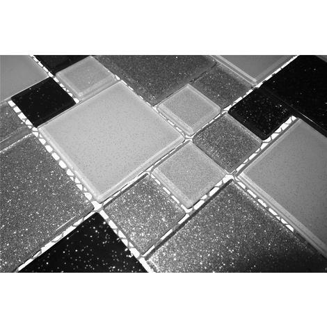 Glas Mosaik Fliesen Matte In Schwarz Weiss Und Silber Mit Glitzer MT0034