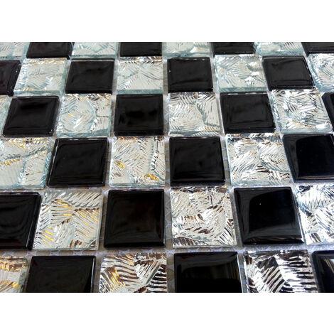 1qm 30cm x 30cm Glas und Edelstahl Mosaik Fliesen Matte in Schwarz und Silber. MT0175 m2