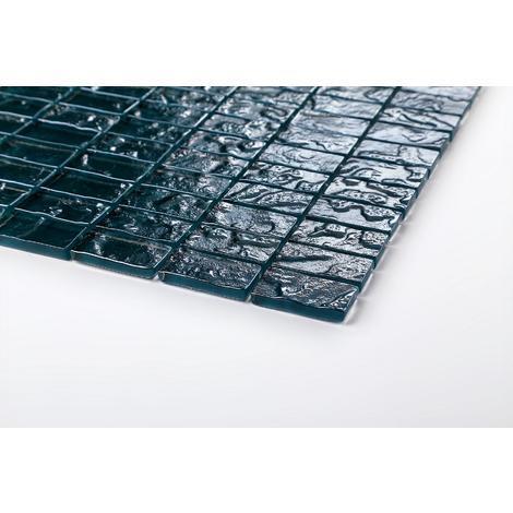 Glas Mosaik Fliesen Muster in Blau Texturiert Lava Baustein Effekt (MT0122)