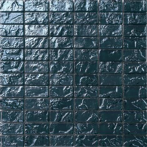 Glas Mosaik Fliesen Matte In Blau Texturiert Lava Baustein Effekt (MT0122)