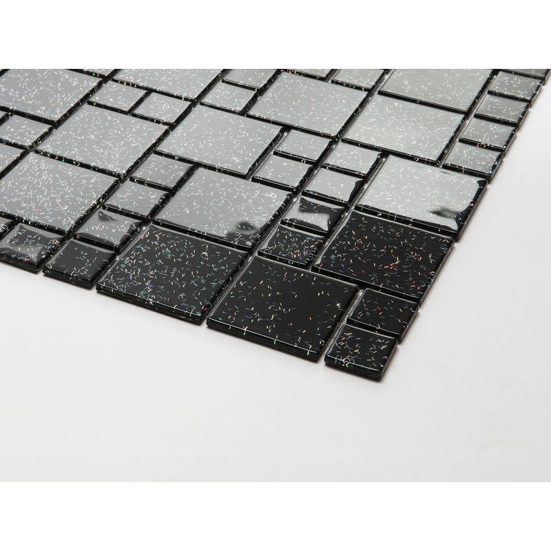 10cm x 10cm Muster Glas Mosaik Fliesen Muster Steine in Zwei Gr/ö/ßen Schwarz mit Glitzer MT0011 Muster