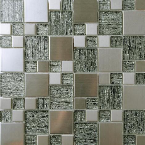30x30cm Glas und Edelstahl Mosaik Fliesen in Schwarz und Silber. MT0175