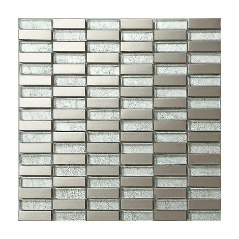 Glas Und Gebürstetem Edelstahl Mosaik Fliesen Matte Silber Mt0103