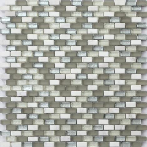 Glas Und Naturstein Mosaik Fliesen Matte In Weiß Grau Und Silber