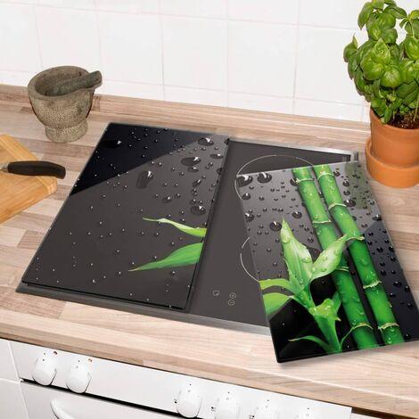 Glasabdeckplatte Bambus Herdabdeckplatte 60x52cm Servierplatte Porenfrei