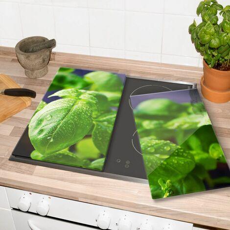 Glasabdeckplatte Frisches Basilikum Herdabdeckplatte 60x52cm Servierplatte