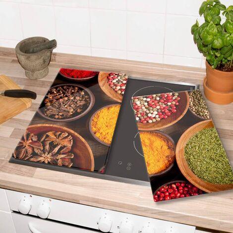 Glasabdeckplatte Gewürze Küche Herdabdeckplatte 60x52cm Servierplatte