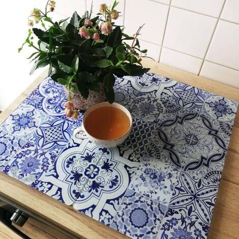Glasabdeckplatte portugiesische Kacheln Herdabdeckplatte 60x52cm Porenfrei