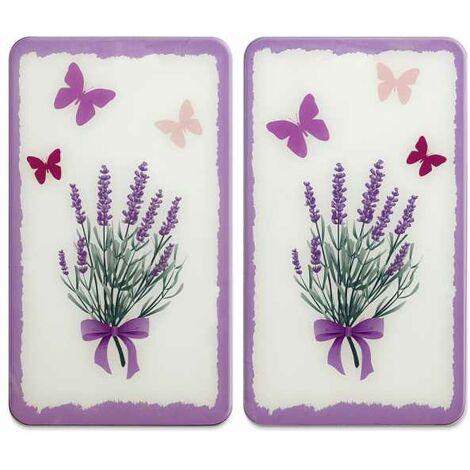 Glasabdeckplatte Universal Lavendel-Bouquet, 2er Set WENKO