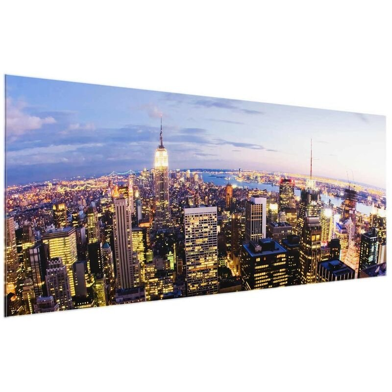 Glasbild - New York Skyline bei Nacht - Panorama Quer