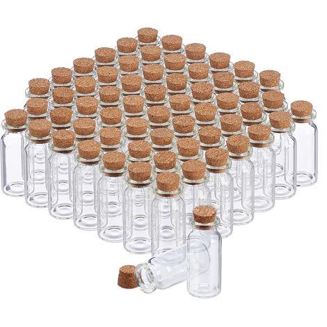 Glasfläschchen mit Korken, 60 Stück, Mini Fläschchen für Öl, Gewürze, Kräuter, Sand, 10 ml, Deko, transparent
