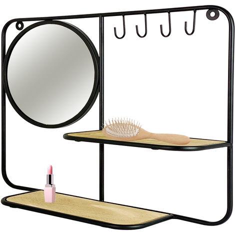 Glasgarderobe mit Spiegel und Schlüsselhaken Metall/holz-M777733