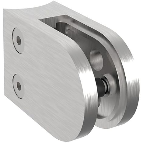 Glasklemmbeschlag f. Rundrohr 42,4mm, rund 63x45x28, Edelstahl geschliffen V2A
