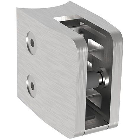 Glasklemmbeschlag für Rundrohr 42,4mm, eckig 52x52x32, Edelstahl geschliffen V2A