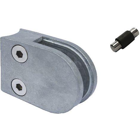 Glasklemmbeschlag Mod. 22 für Rundrohr 42,4 mm, rund 63 x 45 x 28 mm, Zink roh