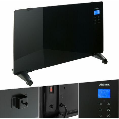 Glaskonvektor schwarz (2000 Watt, Thermostat, Stand- oder Wandmontage) - Konvektor, Elektroheizung