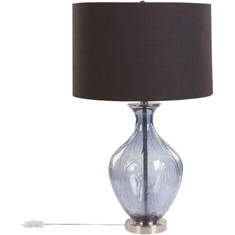 Glass Bedside Table Lamp Blue and Black 70 cm Classic Design Lighting Kelani