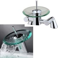 Glass & Chrome Waterfall Bathroom Bath Filler And Basin Mixer Taps Set (1RR)
