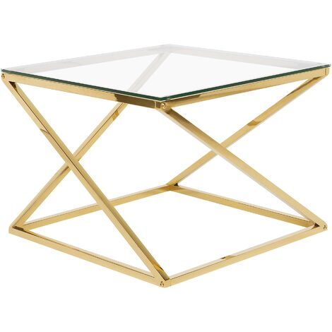 Glass Coffee Table Gold BEVERLY
