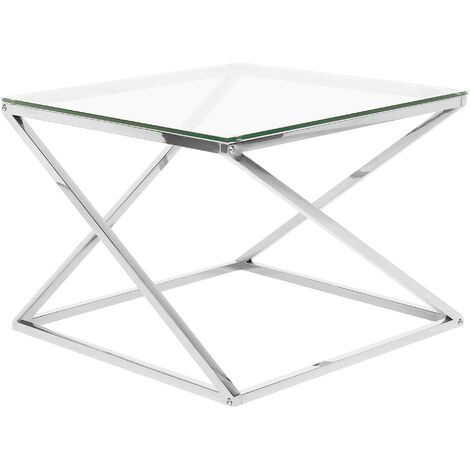 Glass Coffee Table Silver BEVERLY