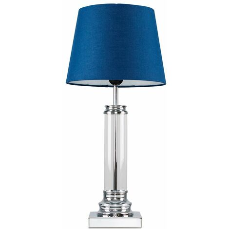 Glass Column Touch Table Lamp Small Tapered Shade - Beige