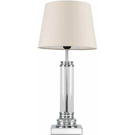 Glass Column Touch Table Lamp Small Tapered Shade - Beige - Silver