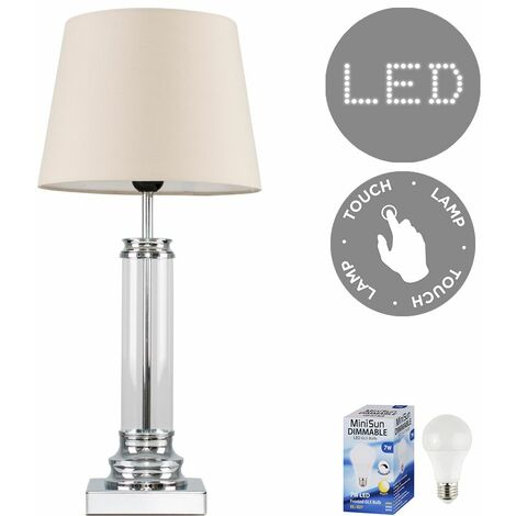 Glass Column Touch Table Lamp Small Tapered Shade & LED Bulb - Beige - Silver