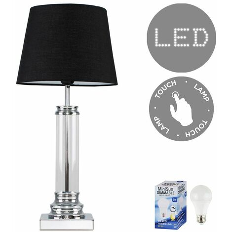 Glass Column Touch Table Lamp Small Tapered Shade & LED Bulb - Black - Silver