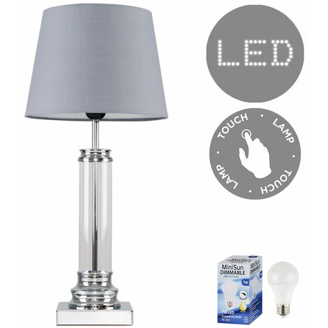 Glass Column Touch Table Lamp Small Tapered Shade & LED Bulb - Grey - Silver