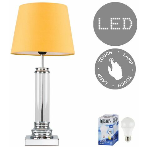 Glass Column Touch Table Lamp Small Tapered Shade & LED Bulb - Mustard - Silver