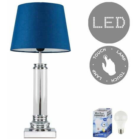 Glass Column Touch Table Lamp Small Tapered Shade & LED Bulb - Navy Blue - Silver