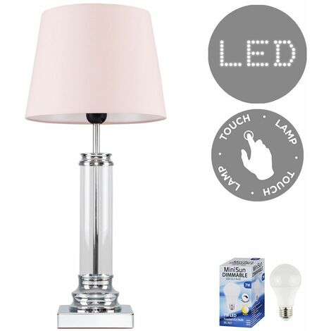 Glass Column Touch Table Lamp Small Tapered Shade & LED Bulb - Pink - Silver
