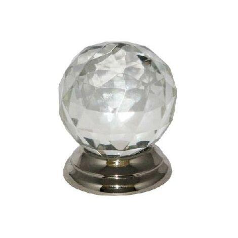 Glass Cupboard Door Knob Ball Handle- 38mm / Chrome Plated Backplate
