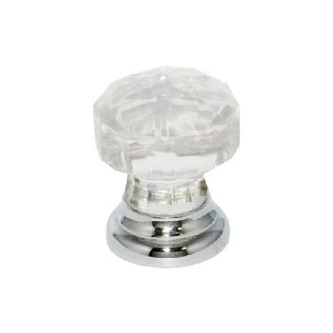 Glass Cupboard Door Knob Faceted Handle- 30mm / Chrome Plated Backplate