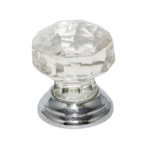 Glass Cupboard Door Knob Faceted Handle- 38mm / Chrome Plated Backplate