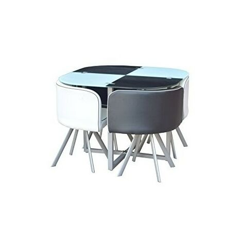 GLASS DINING TABLE AND 4 FAUX LEATHER CHAIRS,SPACE SAVER, BLACK AND WHITE (BLACK/WHITE)