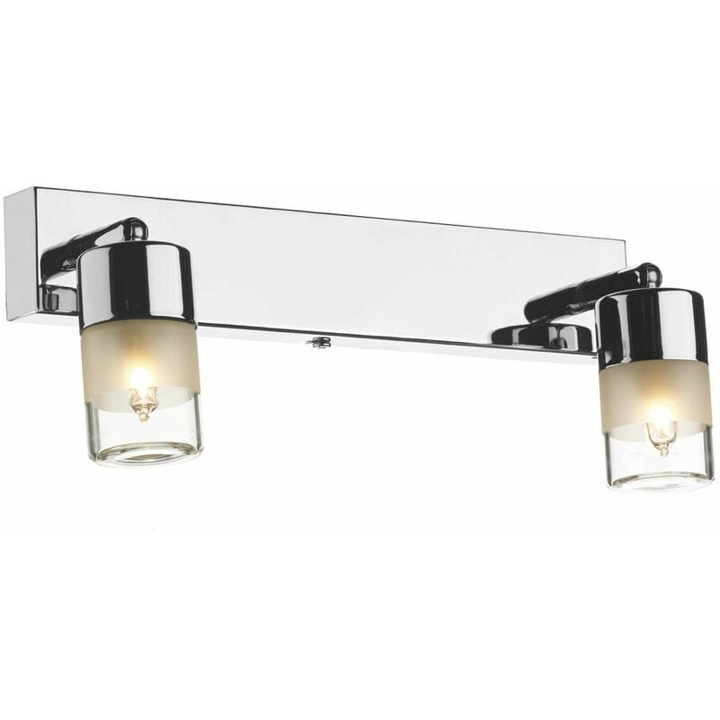 Image of Artemis wall light polished chrome and white faceted glass 2-light