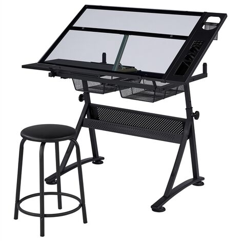 """main image of """"Glass Drafting Table Adjustable Tilting Drawing Desk Craft Table Writing Desk with 2 Drawers and Stationery Storage, 121 x 60 x 70.5 cm"""""""