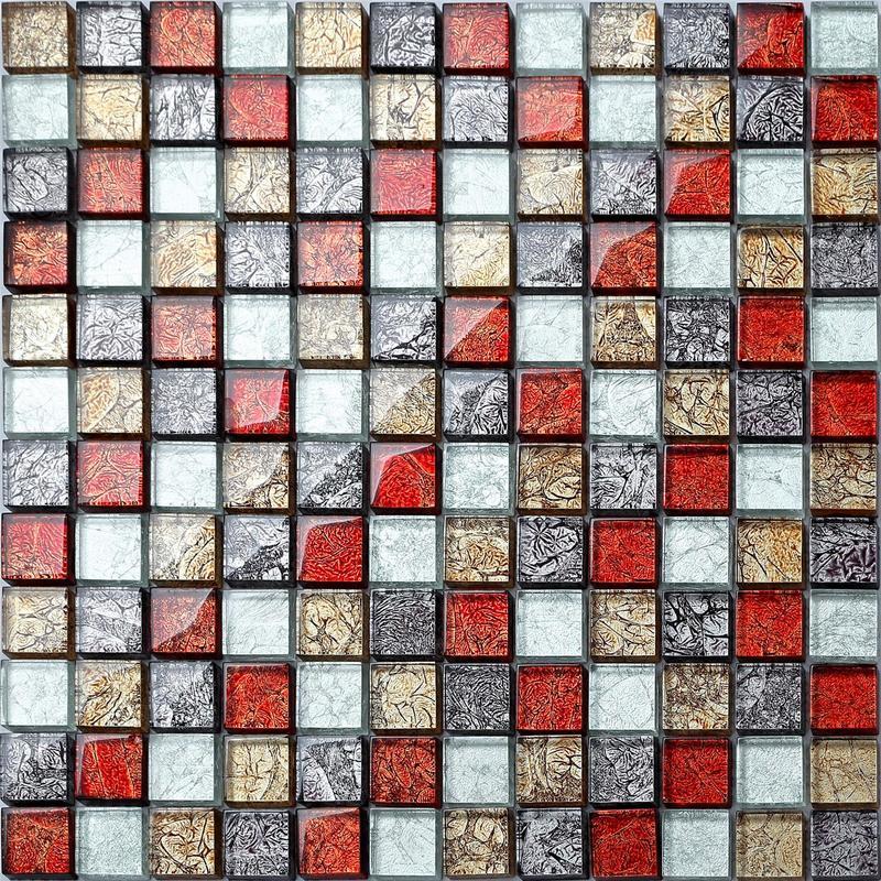 Image of 1 SQ M Glass Hong Kong Autumn Bathroom Kitchen Feature Mosaic Tiles Sheet MT0091