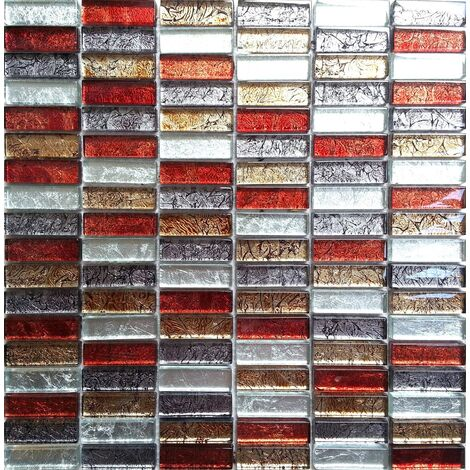 Glass Hong Kong Autumn Brick Bathroom Kitchen Feature Mosaic Tiles MT0006