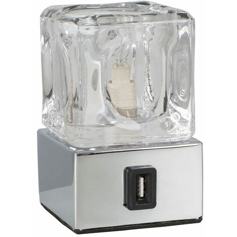Glass Ice Cube Bedside Touch Table Lamp + Chrome Base & Usb Charging Port