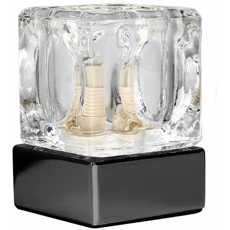 Glass Ice Cube Touch Dimmer Table Lamp + Black Chrome Base + 3W LED G9 Bulb Cool White