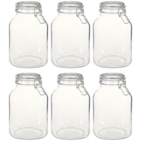 Glass Jars with Lock 6 pcs 3 L