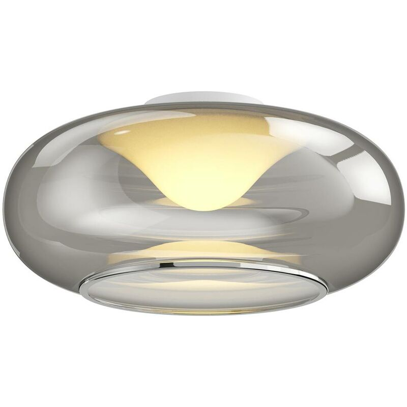 Image of LED Ceiling Light 'Mijo' (modern) in Silver made of Glass for e.g. Bedroom (1 light source, A+) from Lucande | ceiling lamp, lamp